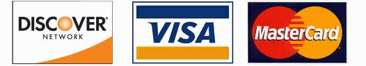 we Accept Visa, Mastercard, Discover